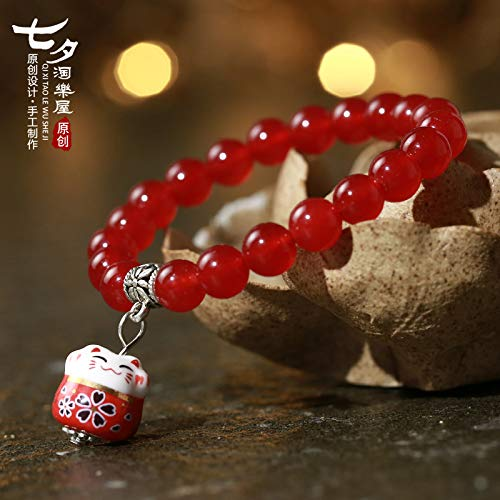 - YUANOMSL Ceramic Bracelet,Bright Beautiful Emerald Chalcedony Lucky Cat Animal Hand-Woven Girlfriends Gifts Lovers Hand Rope Fashion Gifts Cute Jewelry Gift Wrist Ornaments
