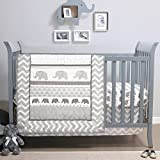 Elephant Walk 4-Piece Jungle Geometric Chevron Grey Crib Bedding Set by Belle