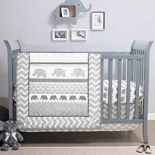 Crib Infant Baby Bedding Set - Elephant Walk 4-Piece Jungle Geometric Chevron Grey Baby Crib Bedding Set by Belle