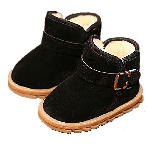 EsTong Toddler Baby Boy Girl Thick Winter Outdoor Snow Boots Anti-Slip Fur Lined Booties Black (24 Baby Footwear Boots)