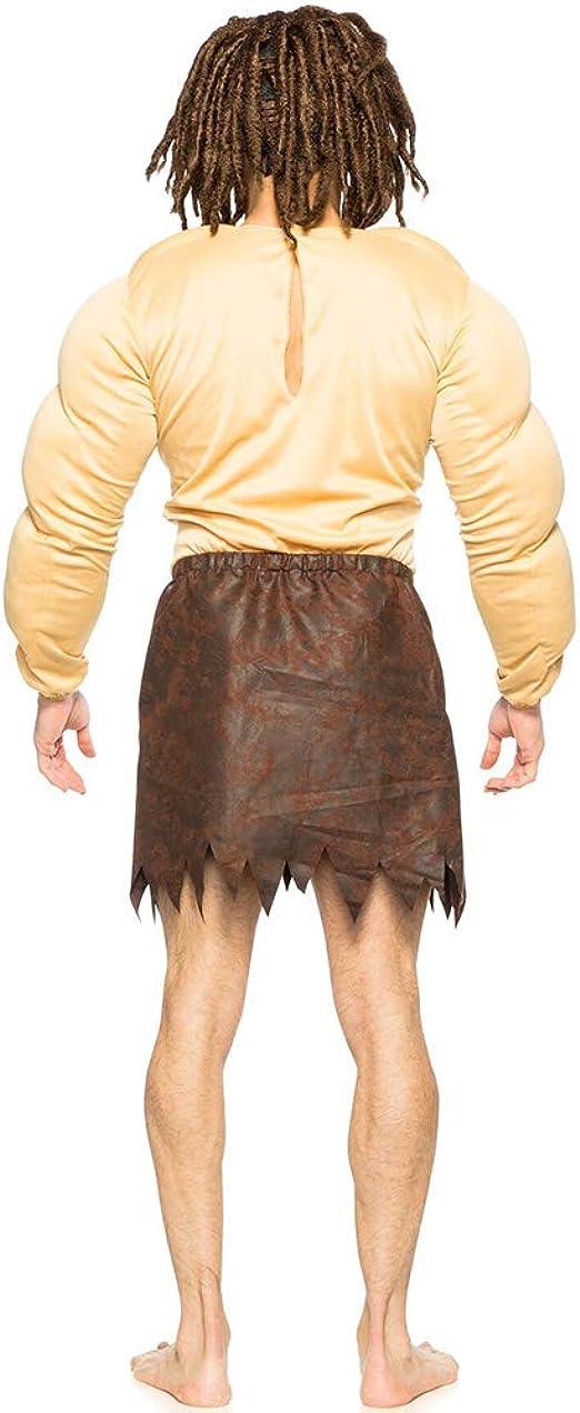 Mens Jungle Man Tarzan Padded Muscle Chest Wig Loincloth Adult Halloween Costume