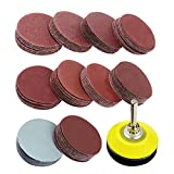 Coceca 2 inch 100PCS Sanding Discs Pad Kit for Drill Grinder Rotary Tools with Backer Plate 1/4'' Shank Includes 80-3000 Grit Sandpapers