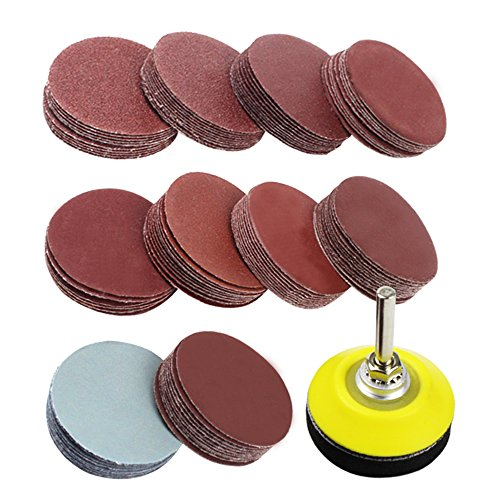 Coceca 2 inch 100PCS Sanding Discs Pad Kit for Drill Grinder Rotary Tools with Backer Plate 1/4
