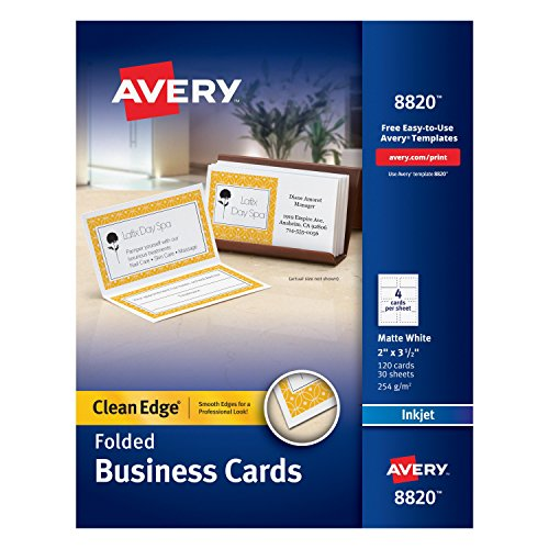 Avery Folded Two-Side Printable Clean Edge Business Cards for Inkjet Printers, White, Matte, Pack of 120 (8820) ()