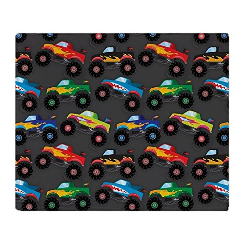 CafePress - Cool Monster Trucks Pattern, Colorful Kids Throw B - Soft Fleece Throw Blanket, 50