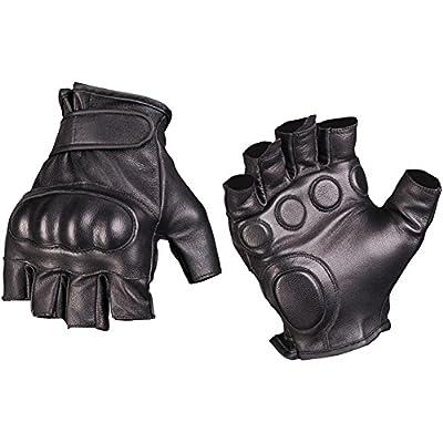 Mil-Tec Men's Fingerless Leather Gloves Black