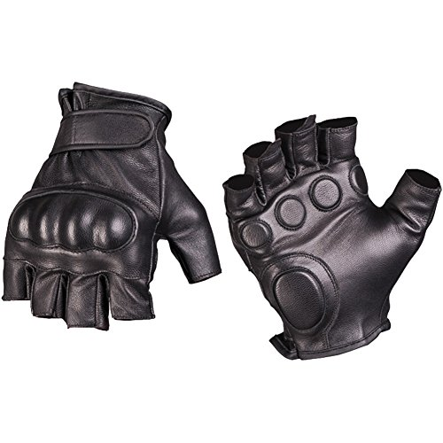 Mil-Tec Men's Fingerless Leather Gloves Black size M ()