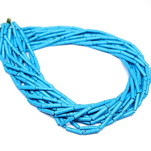 Beads Bazar Natural Beautiful jewellery 5 Strand Synthetic Turquoise Smooth Loose Tube Gemstone Craft Beads 14