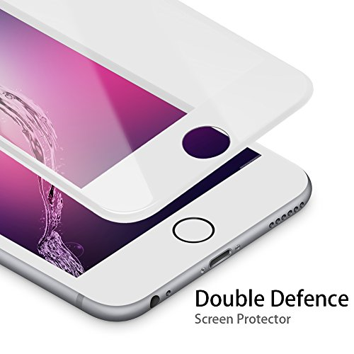 Price comparison product image Tempered Glass Screen Protector Film Edge to Edge Protection for Apple iPhone 8 Plus 7 Plus 6 Plus 6s Plus Screen Protector [Double Defence Technology] 3D Curved Full Coverage Cover - White