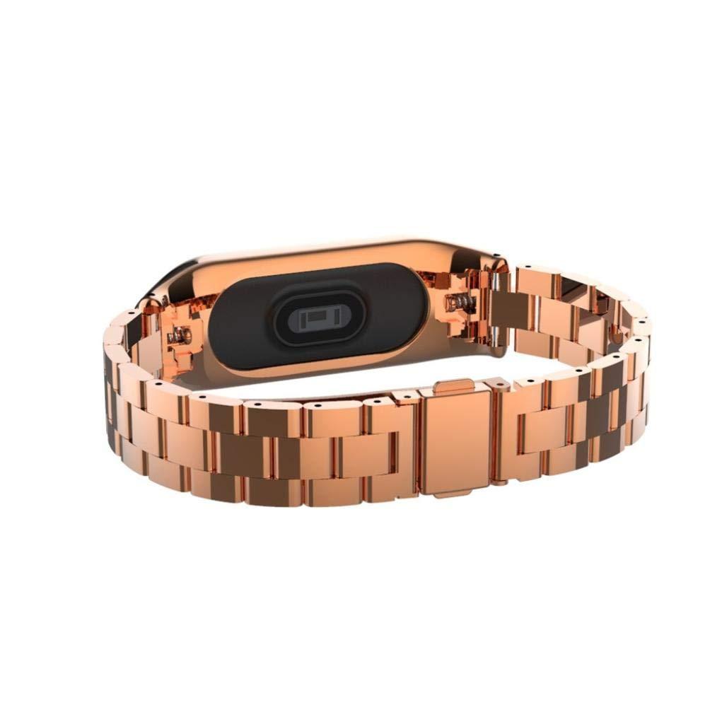 Malloom Tres Correas s/ólidas Metal de Lujo de Acero Inoxidable para Xiaomi Mi Band 3 Oro Rosa