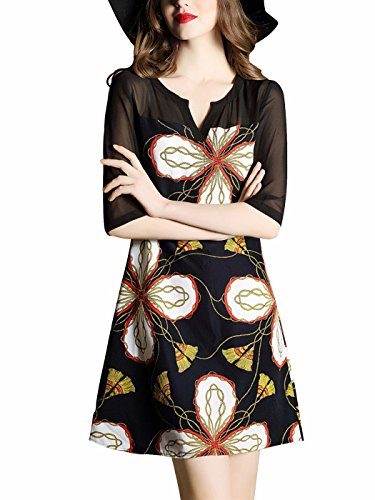 Holly Gibbons Women's Black 3/4 Sleeves Floral Lace
