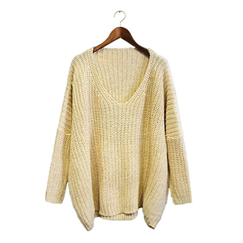 Hauts Col Casual Longues Chandail Femme Pulls V en Manches Maille Top Pullovers Jitong Beige xp1qUPwP