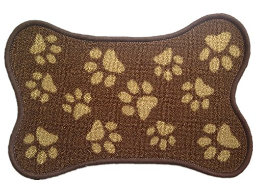 Dark Brown Indoor Tapestry Bone-shaped Dog Paws Rug Multi-functional Pet Mat, 13 by 19-Inch
