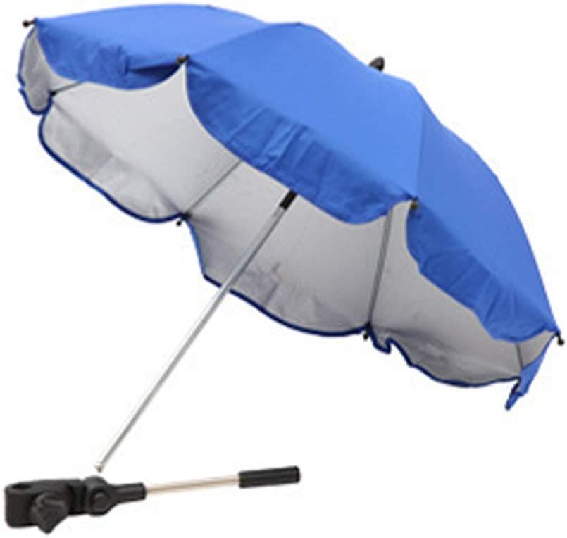Bebé Silla de Paseo Paraguas Tonos Desmontable Práctico Flexible Brazo Silla de Ruedas Acero Estructura Manual Abierta Sombrilla Dosel Al Aire Libre Silla de Paseo Clip Ajustable (Azul Zafiro)