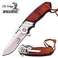 """8"""" ELK RIDGE Wood Hunting SPRING ASSISTED OPEN Gentleman Folding POCKET KNIFE"""