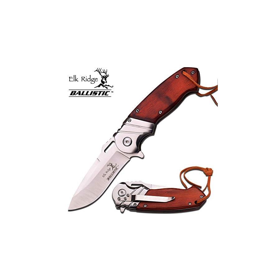 """Elk Ridge 8"""" Wood Gentleman SPRING ASSISTED OPEN Hunting Folding POCKET KNIFE"""