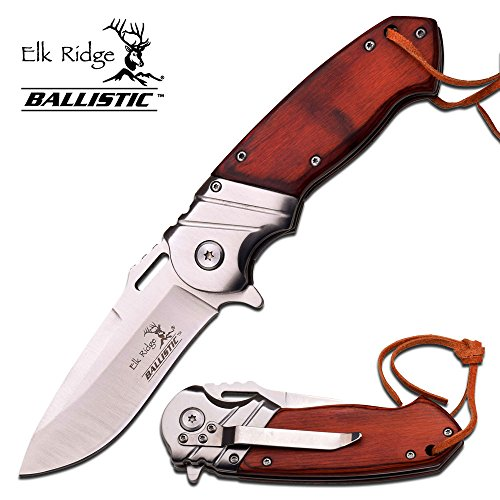 8″ ELK RIDGE Wood Gentleman SPRING ASSISTED OPEN Hunting Folding POCKET KNIFE