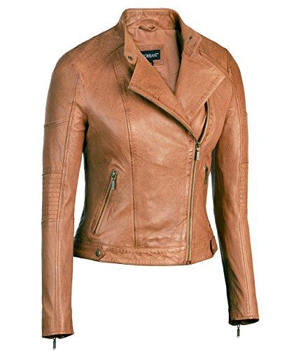 589a5970124d Corbani Cognac Womens Asymmetrical Leather Jacket Scuba Collar – Lambskin  (Medium