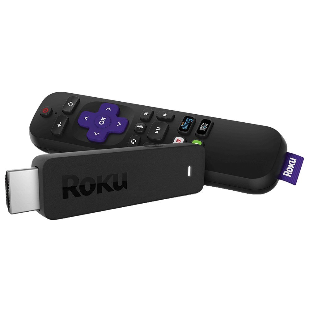 Roku Streaming Stick | Portable, power-packed player with voice remote with TV power and volume (2017) (Certified Refurbished) by Roku