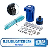 0.3L Universal Oil Catch Can Baffled Breather Petrol Diesel Turbo Tank Reservoir Filter Blue