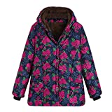 FEDULK Hooded Outwear for Women Winter Warm Floral Print Thick Coat Vintage Jacket Plus Size Overcoat(Hot Pink, US Size L = Tag XL)