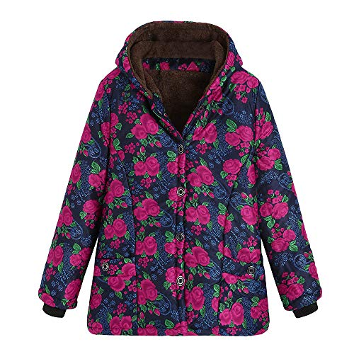 FEDULK Hooded Outwear for Women Winter Warm Floral Print Thick Coat Vintage Jacket Plus Size Overcoat(Hot Pink, US Size L = Tag XL) by FEDULK