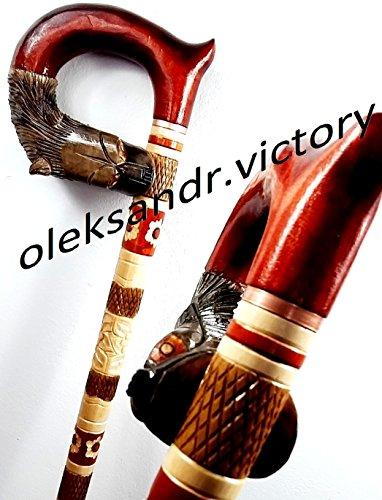 WOLF Cane Walking Stick Wooden Handmade Men's Accessories