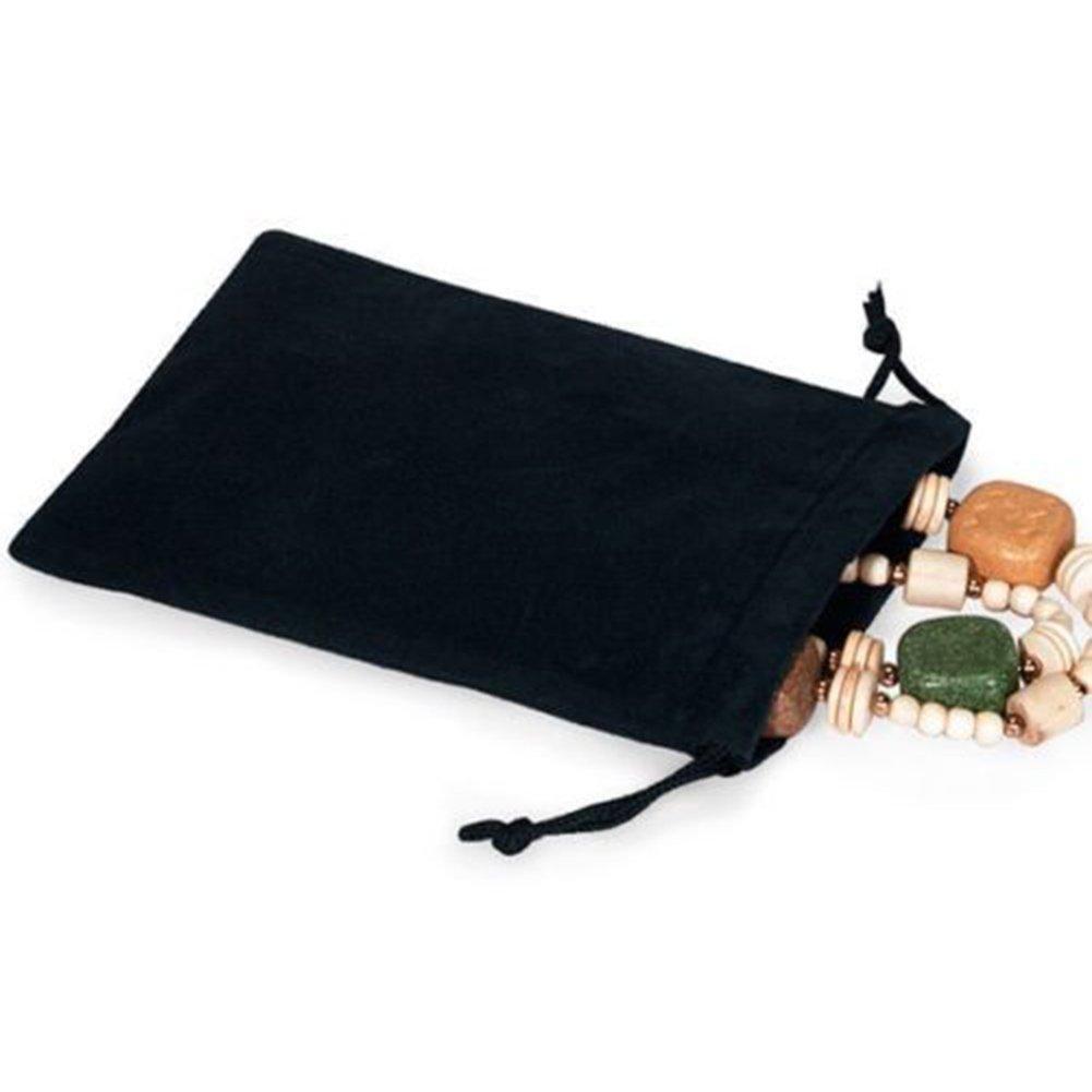 Yamalans Black Velvet Jewelry Drawstring Storage Bag Gift Pouch Party Favour Bag Black