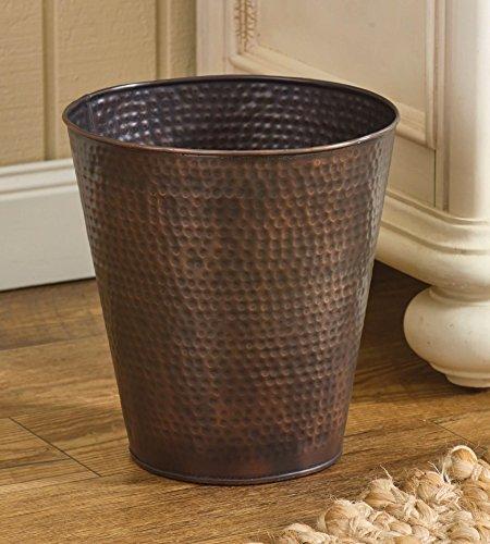 Hammered Copper Finish Antique Style Waste Basket