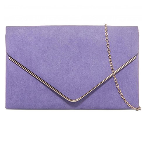 fi9® PROM Lilac HAND BRIDAL SUEDE BAG PURSE WEDDING CLUTCH EVENING PLAIN PARTY qgtrw4gx