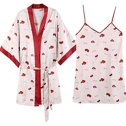 (Forall-Ms Nifty Women Sleepwear Set,Printed Satin Pajamas Sets Dressing Gown & Lingerie Nightdress Negligee Personalized Robe,Sweet-M)