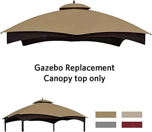 Amazon Com Hofzelt Outdoor Gazebo Replacement 10 X12 Canopy Soft Top 2 Tier Patio Canvas Cover For Lowe S 10 X 12 Gazebo Model Gf 12s004bto Gf 12s004b 1 Khaki Garden Outdoor