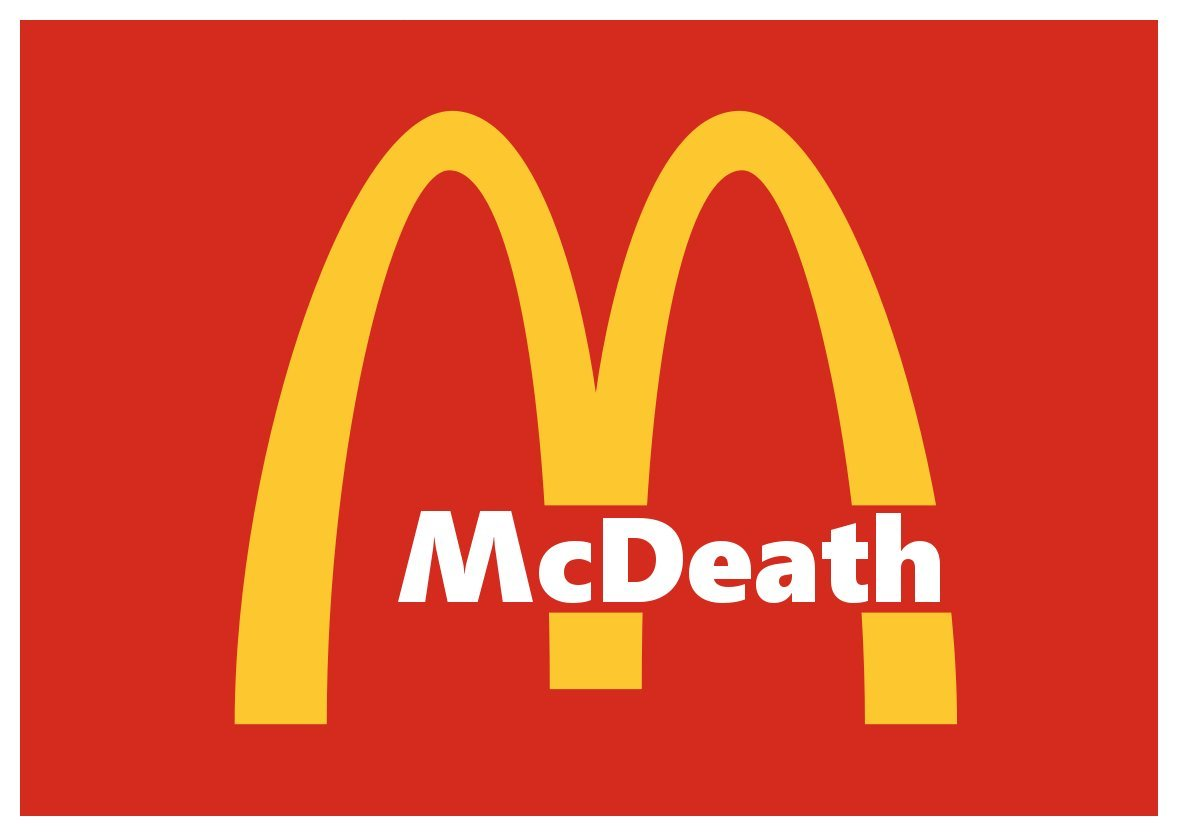 Amazon com new color comedy sticker mcdeath vegan animal rights corporate anti mcdonalds parody toys games