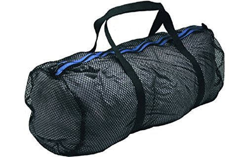 Innovative Heavy Duty Large Mesh Duffel Bag, Black/Blue for Scuba gear, snorkeling, diving, rafting, kayaking, and other outdoor watersports