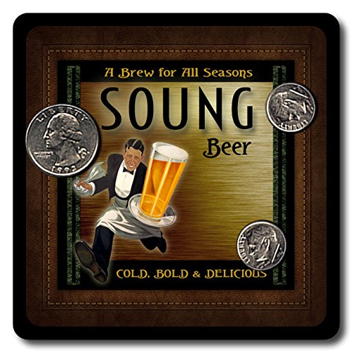 Soung Family Name Beer and Ale Rubber Drink Coasters - 4 Pack