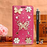 Locaa(TM) For Samsung Galaxy Grand Neo I9060 3D Bling Case + Stylus + Phone plug Luxury Girl Cute Gift Rhinestone Beautiful Leather Cover [Color Series 2] Pink case - Golden butterfly