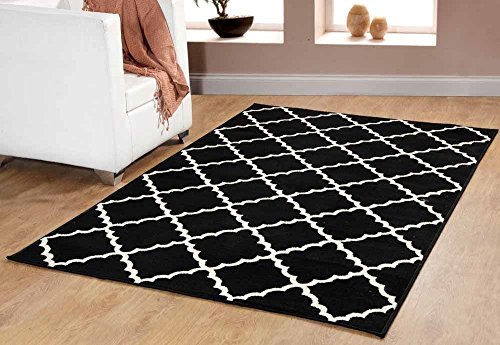 (Contemporary Trellis modern Geometric Area Rug Black 635 furnishmyplace- 4x6)