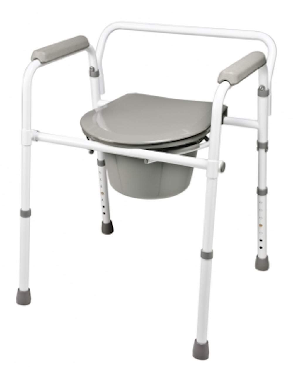 Pivit Elongated Folding 3-in-1 Bedside Commode Chair for Adults & Seniors | Heavy-Duty Steel | Tool-Free Adult Portable Potty Converts to Elevated Over-The-Toilet Seat Or Handicap Toilet Safety Frame