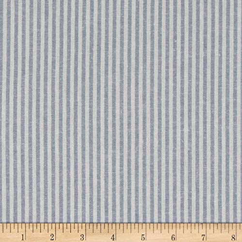 - Robert Kaufman 0568609 Kaufman Essex Yarn Dyed Classic Wovens Linen Stripes Chambray Fabric by The Yard,