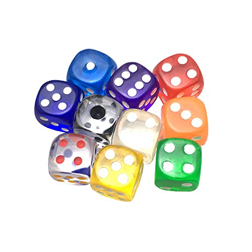SmartDealsPro 10-Pack D6 Six Sided 16mm Transparent Dice Die-Random Color