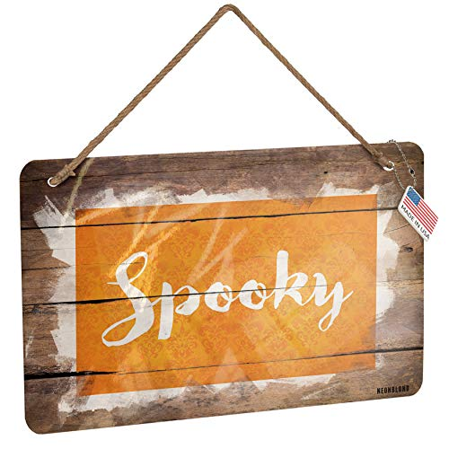 (NEONBLOND Metal Sign Spooky Halloween Orange Wallpaper Christmas Wood)