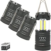 Gold Armour LED Camping Lantern 4 Pack & 2 Pack, 500 Lumens, Survival Kits for Hurricane, Emergency, Storm, Outages, Outdoor Portable Lanterns Gear, Alkaline Batteries (4Pack Gray)