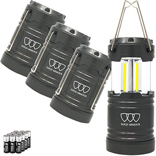 Gold Armour LED Camping Lantern, 4 Pack 500 Lumens, Survival Kits for Hurricane Emergency Storm Outages, Outdoor…
