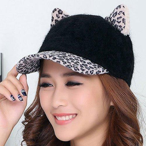 LOCOMO Women Girl Cute Cat Ear Leopard Pattern Baseball Cap FFH075BW Black