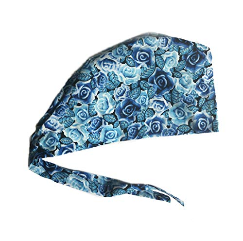 Women's Front Fold Tie Back Scrub Cap Surgical Cap Blue Roses