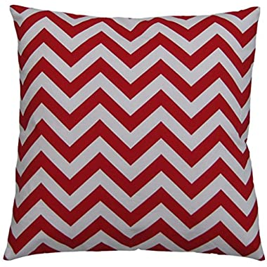 JinStyles Cotton Canvas Chevron Striped Accent Decorative Throw Pillow Cover / Cushion Sham (Christmas Red & White, Square, 1 Cushion Sham for 18 x 18 Inserts)