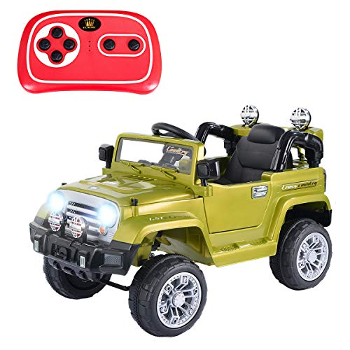Costzon Ride On Jeep Car, 12V 2WD Powered Truck, Manual/ Parental Remote Control Modes Truck Vehicle with Headlights, MP3 Port, Music, Horn for Kids (Green - Ride Green