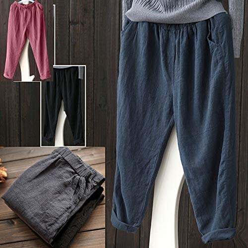 865ceb58e7 ... wodceeke Women Plus Size Pants, Elastic Casual Relaxed Loose Fit Cotton  Linen Pants Harem Trousers ...