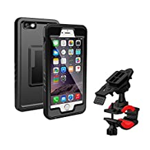 Bike Mount iPhone 6/6s Plus Waterproof Case, Lycase Bicycle Rack Handlebar & Motorcycle Holder Cradle with 360 Rotate Shock-Absorbent Mount case for iPhone 6/6s Plus 5.5 Inch - Black