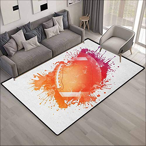 Skid-Resistant Rug,Sports Rugby Ball in Digital Watercolors Splash Recreational Leisure Sports Run Design,Ideal Gift for Children,4'7